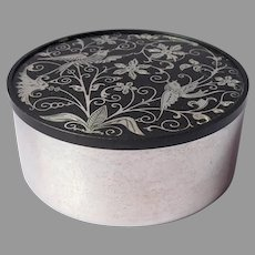 Silver Inlay Powder Trinket Box Oneida Silver Plated Black Vintage