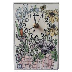 Santa Barbara Ceramic Design Clock 1990 Vintage Standing 6.25 x 4.25