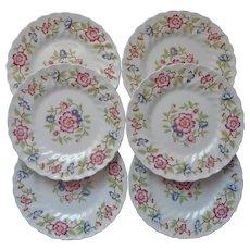 Franciscan Mandarin 6 Bread Plates Vintage