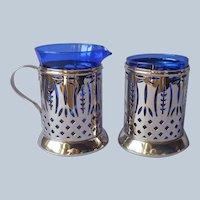 Cobalt Blue Glass Pierced Reticulated Nickel Creamer and Sugar Vintage