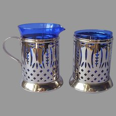 Cobalt Blue Glass Pierced Reticulated Nickel Creamer and Sugar Vintage