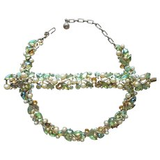 Kramer Set Necklace Bracelet Green Art Glass AB Rhinestones Faux Pearls TLC