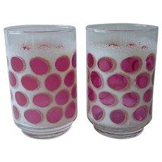 Libbey Concord Cranberry White Coin Spot Dot Tumblers Glasses Vintage