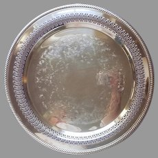 Pierced Rim Tray Round Silver Plated Vintage Wm. Rogers Reticulated