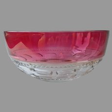 Cranberry Stain Kings Crown Ruby Salad Berry Bowl Indiana Glass Vintage HTF