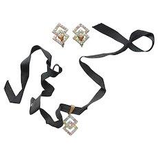 Set Choker Necklace Clip Earrings Pastel Rhinestones Ribbon Vintage