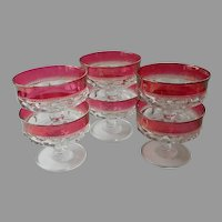 Cranberry Kings Crown Vintage Ruby Stain Sherbet Fruit Dishes 6
