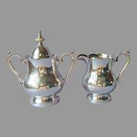 Monogram M Creamer Sugar Bowl Lid Wallace Alden Silver Plated Vintage