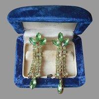 Light Green Rhinestone Dangle Clip Earrings Vintage Gold Tone