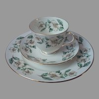 Crown Staffordshire Trio English Bone China White Hellebore Flowers