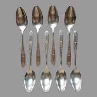 Grosvenor 1921 Teaspoons 8 Antique Silver Plated Oneida Community