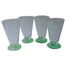 Iced Tea Glasses Footed Tumblers 4 Green Foot Diamond Optic Vintage