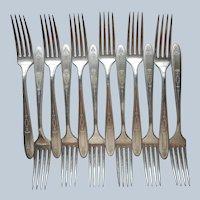 Grosvenor 1921 Dinner Forks 12 Antique Silver Plated Oneida Community