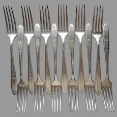 Grosvenor 1921 Dinner Forks 12 Antique Silver Plated Oneida Community