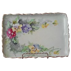 Pansies Hand Painted Porcelain Vanity Perfume Tray Antique