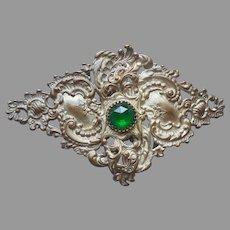 Victorian Belt Buckle Two Part Piece Ladies Antique Green Stone Stamped Metal