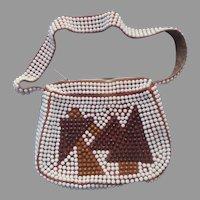 1970s Roger Van S Plastic Bead Shoulder Bag Purse Brown White Vintage