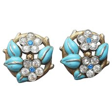 ca 1940 Painted Enamel Rhinestone Flower Clip Earrings Vintage
