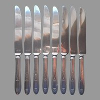 Grosvenor 1921 Dinner Knives 8 Antique Silver Plated Oneida Community