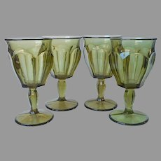 Westmoreland 1776 Colonial Water Goblets Wine 4 Vintage Olive Green
