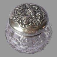 Art Nouveau Vanity Jar Antique Silver Colored Metal Lid Pressed Glass Base
