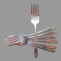 Grosvenor 1921 Salad Forks 7 Antique Silver Plated Oneida Community