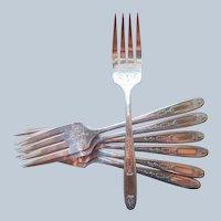 Grosvenor 1921 Salad Forks 7 Antique Silver Plated Oneida Community