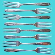 Grosvenor 1921 Dinner Forks 8 Antique Silver Plated Oneida Community