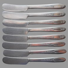 Grosvenor 1921 Butter Spreader Knives 8 Antique Silver Plated Oneida Community