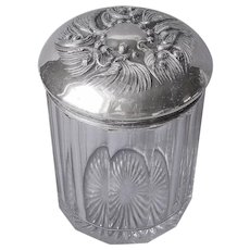 Humidor Jar Art Nouveau Silver Plated Lid Glass Antique Lily Of The Valley