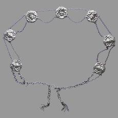 Belt Art Nouveau Ladies Heads Silver Plated Antique 37.5 Inches Large