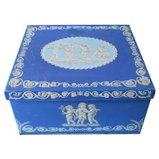Large English Biscuit Tin Blue Cherubs Huntley and Palmers