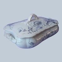 Victorian English Serving Dish Lid Transferware Antique Blue Gray Turners Tunstall