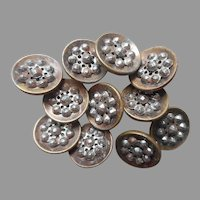 Victorian Metal Buttons Set 11 Antique Stamped Cut Steel