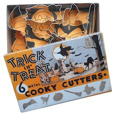 Halloween Cookie Cutters Vintage 5 Original Box Trick Or Treat Metal