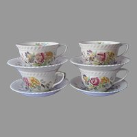 Johnson Brothers Garden Bouquet 4 Cups 4 Saucers Vintage England