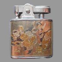Prince Lighter Engraved Damascene 7 Lucky Gods Japan Vintage Signed Silver