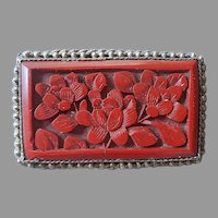 Chinese Export Carved Cinnabar Filigree Pin Vintage Needs Pin Shaft