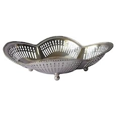 Bread Rolls Basket Silver Plated Vintage Pierced Reticulated