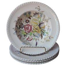 Johnson Brothers Garden Bouquet 4 Rimmed Soup Bowls Vintage England