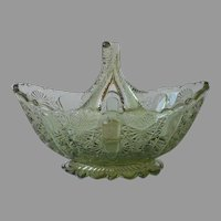 Fenton Basket Colonial Green Split Handle Vintage Glass Daisy Button