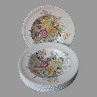 Johnson Brothers Garden Bouquet 6 Rimmed Soup Bowls Vintage England
