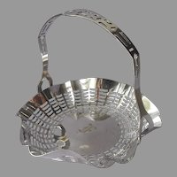 Monogram F 1920s Bonbon Basket Silver Plated Antique Apollo Bon Bon