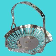 Monogram F 1920s Bonbon Basket Silver Plated Antique Apollo Bon Bon