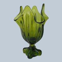 Viking Swung Vase Handkerchief Rim Four Square Olive Green Vintage