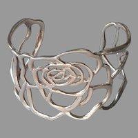Espo Joseph Esposito Rose Sterling Silver Cuff Bracelet Vintage