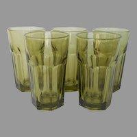 Libbey Gibraltar Juice Tumblers Glasses Olive Green Vintage HTF