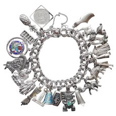 Sterling Silver Charm Bracelet Vintage 21 Charms 925 900 800
