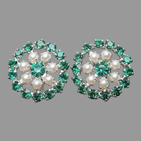 B. David Green Rhinestone Faux Pearl Silver Tone Clip Earrings Vintage