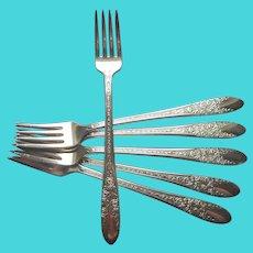 Rose And Leaf 1937 Dinner Grille Luncheon Forks 6 Silver Plated Vintage